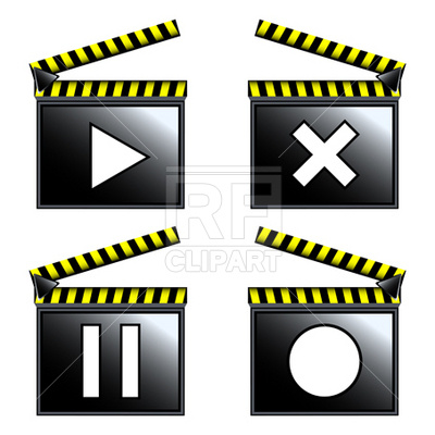 400x400 Movie Cinema Clapboard Icons Royalty Free Vector Clip Art Image