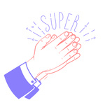 150x150 Icon Clapping Hands With Text Super Royalty Free Vector Clip Art