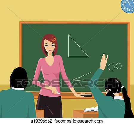 450x414 Clip Art Of Front View Of A Teacher Teaching In A Class U19395552