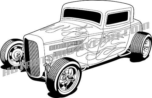 500x325 1932 Ford Hot Rod Vector Clipart, High Quality Blackline