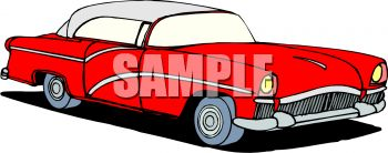 350x138 Royalty Free Clip Art Image Classic Car Red Fifties Style Car