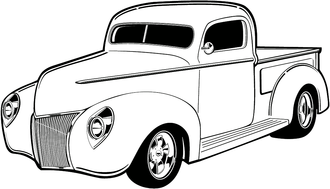 1079x617 Black And White Classic Car Clipart