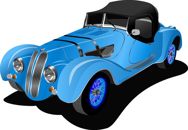 640x445 Blue Classic Car Clipart