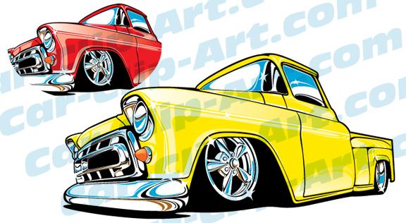 576x316 1957 Chevy Truck Vector Clip Art Car Clip