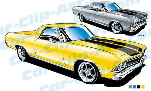 500x300 1968 Chevy El Camino Clip Art El Camino, Automotive Art And Car