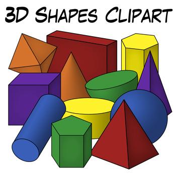 350x350 3D Shapes Clip Art by Digital Classroom Clipart TpT