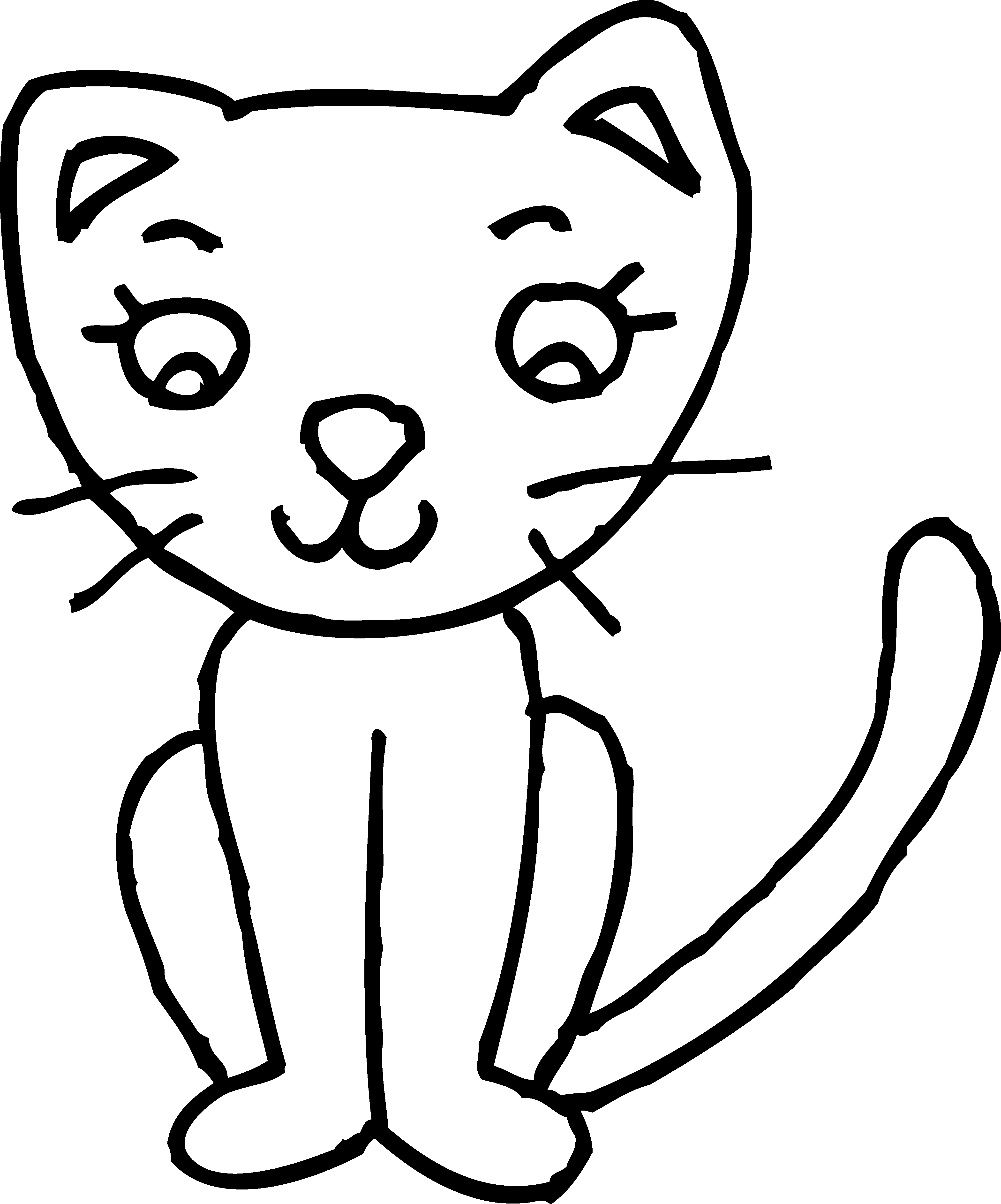 4137x4975 Black And White Cat Clipart