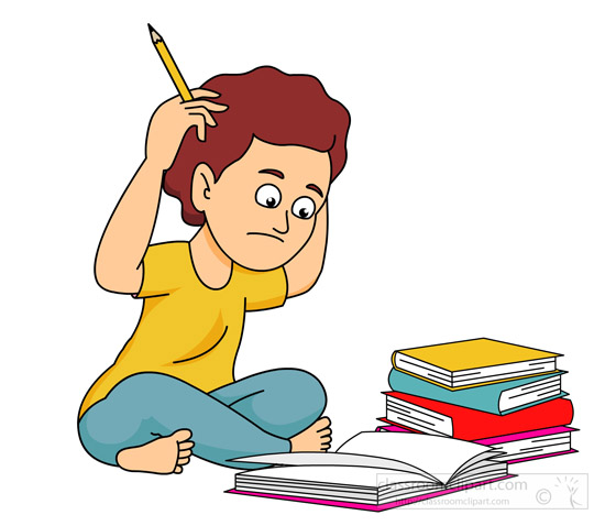 550x478 School Student Confused With Lots Of Homework Classroom Clipart