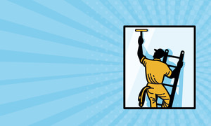 300x180 Business Card Showing Illustration Of A Male Commercial Cleaner