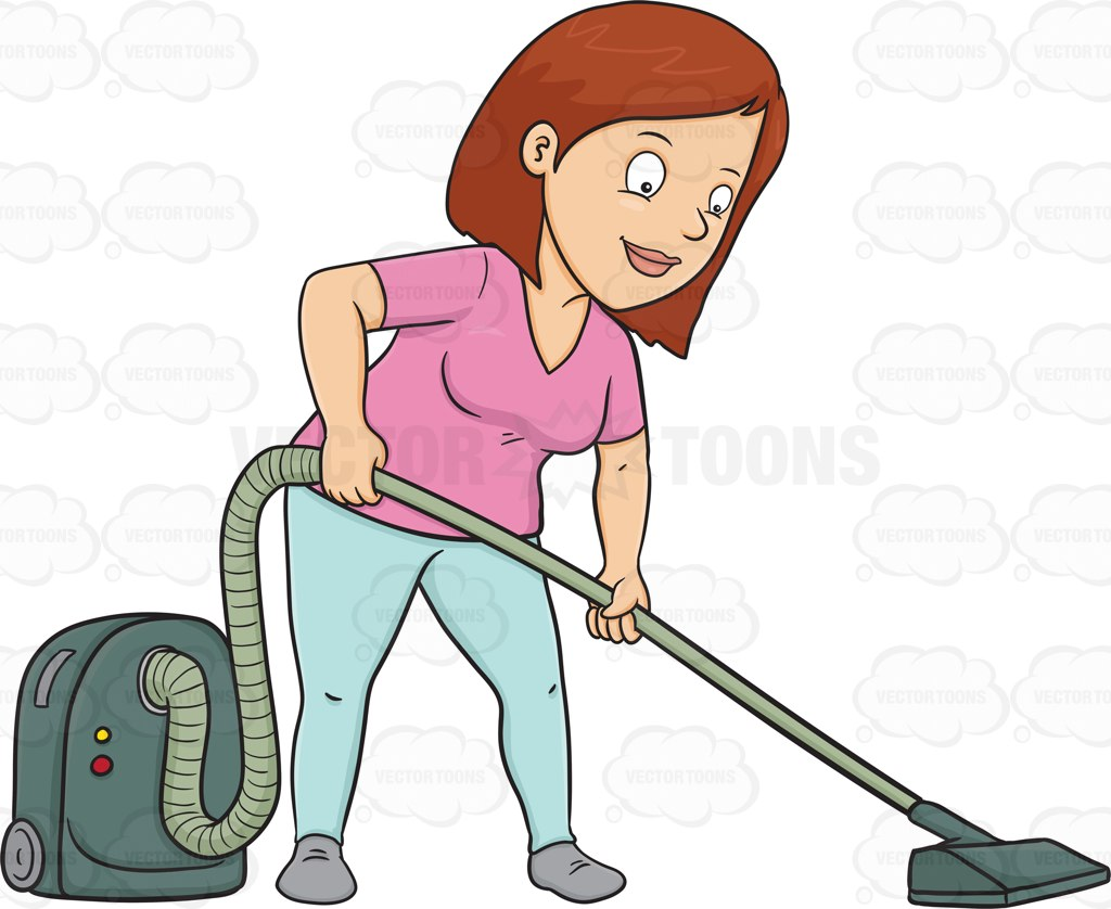 1024x838 A Woman Using A Vacuum Cleaner To Sanitize The Floor Cartoon
