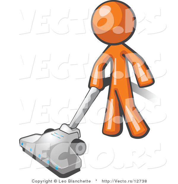 600x620 Vector Of Orange Guy Cleaning With A Canister Vacuum By Leo