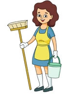 173x195 Woman Cleaning House Clipart