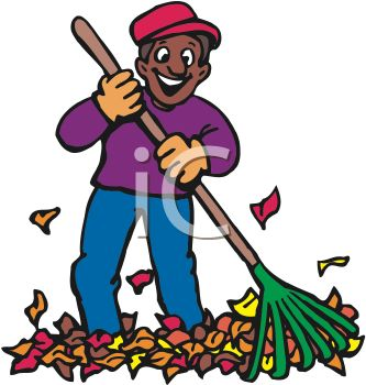 333x350 Picture Of A Happy Man Raking Leaves In A Vector Clip Art