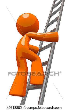 295x470 Clip Art Of Orange Man Climbing Ladder Industrial K9718882