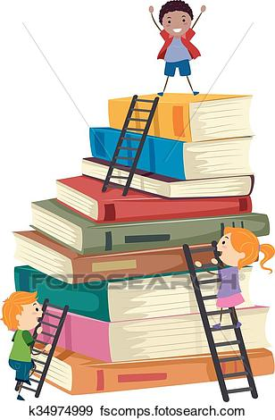 308x470 Clip Art Of Stickman Kids Book Stack Ladders Climb K34974999