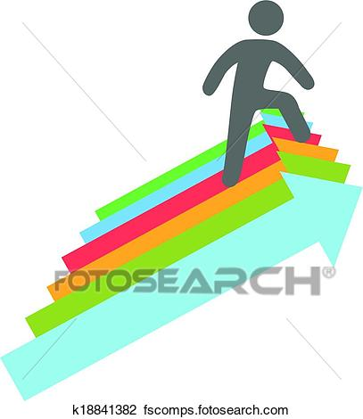 407x470 Clipart Of Person Climbs Up Success Direction Arrows K18841382