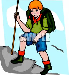 276x300 Image A Scout With A Backpack And A Stick Climbing A Mountain