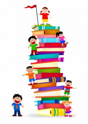 303x425 Kids Climb A Stack Of Books Vector Misc Free Vector Free Download