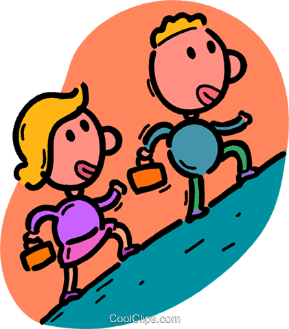 421x480 People Climbing Up A Hill Royalty Free Vector Clip Art