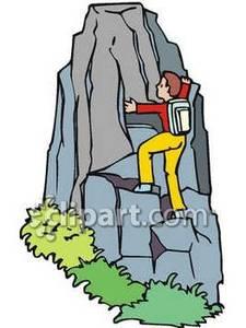 225x300 Man Climbing Mountain Clipart