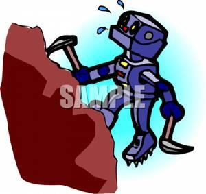 300x283 Robot Climbing A Mountain Clipart Picture