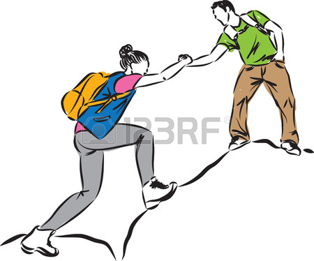 450x374 Businessman Helping To Climb Businesswoman Concept Illustration