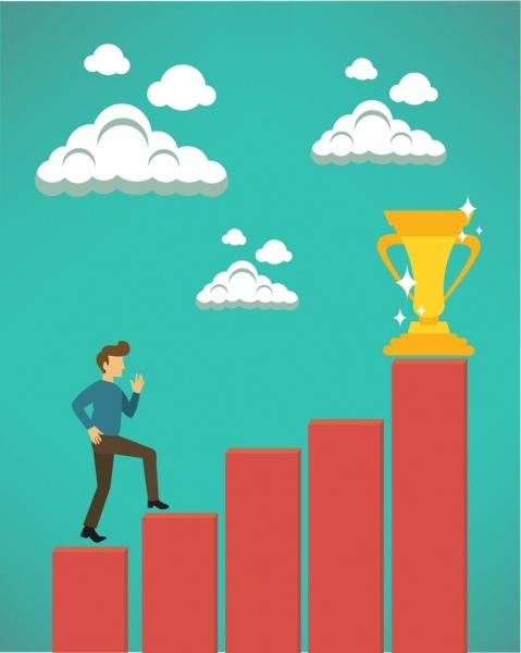 479x600 Success Concept Design Man Climbing Trophy Steps Decoration Free