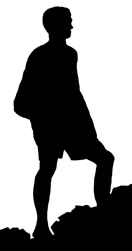 447x851 Boy Climbing Mountain Clipart Silhouette