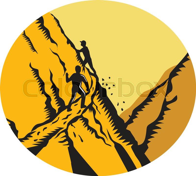 800x722 Mountain Climber Climbing Retro Stock Vector Colourbox