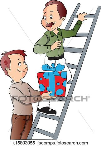 324x470 Clipart Of Vector Of Boy Giving Gift To His Father Climbing Ladder