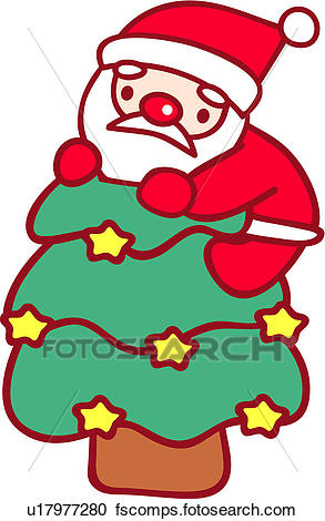 293x470 Clipart Of People, Santa, Climbing, Christmas Tree, Character
