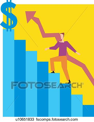 365x470 Drawing Of Man Climbing On Graph Line Stairs U10651833