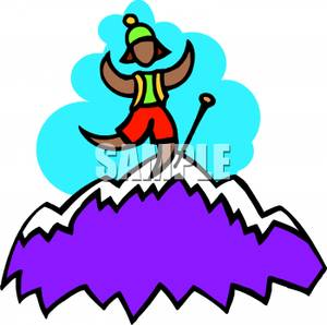 300x298 Mountain Climber Cheering At The Top Of A Mountain Clipart Picture