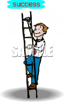 222x350 Picture Of A Man Climbing A Step Ladder In A Vector Clip Art