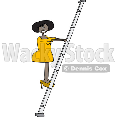 400x400 Of A Cartoon Black Business Woman Climbing A Ladder