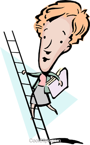 300x480 Cartoon Lady Climbing A Ladder Royalty Free Vector Clip Art