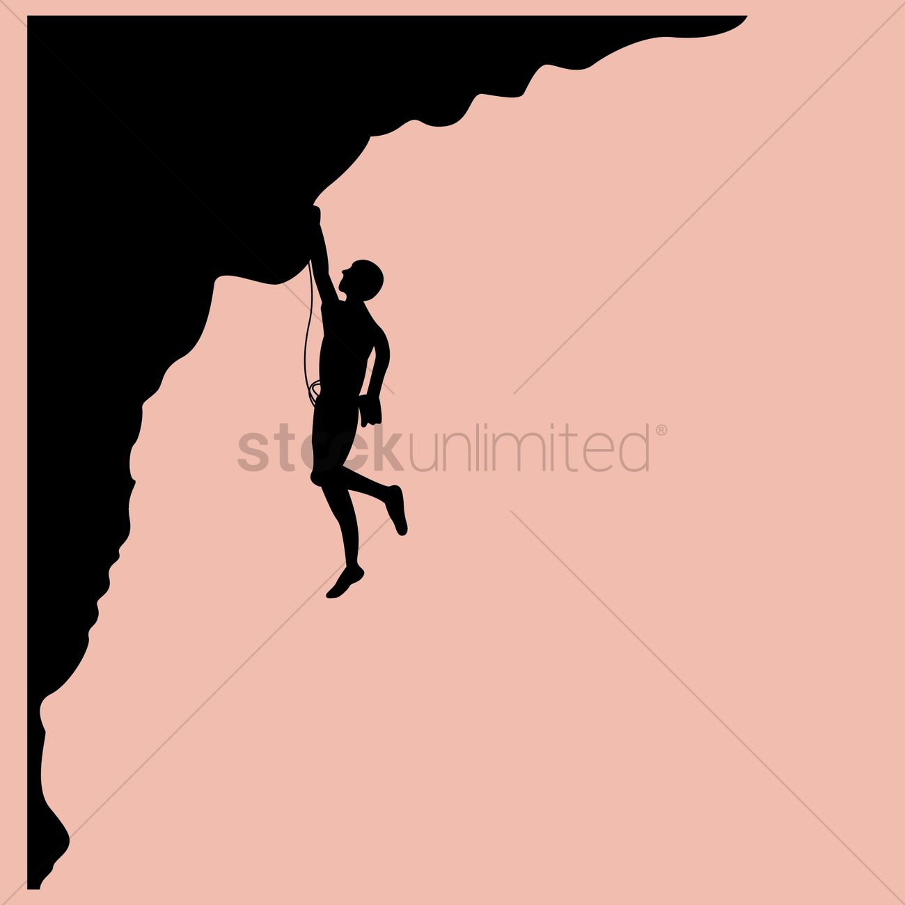 1300x1300 Silhouette Of Man Climbing Mountain Vector Image