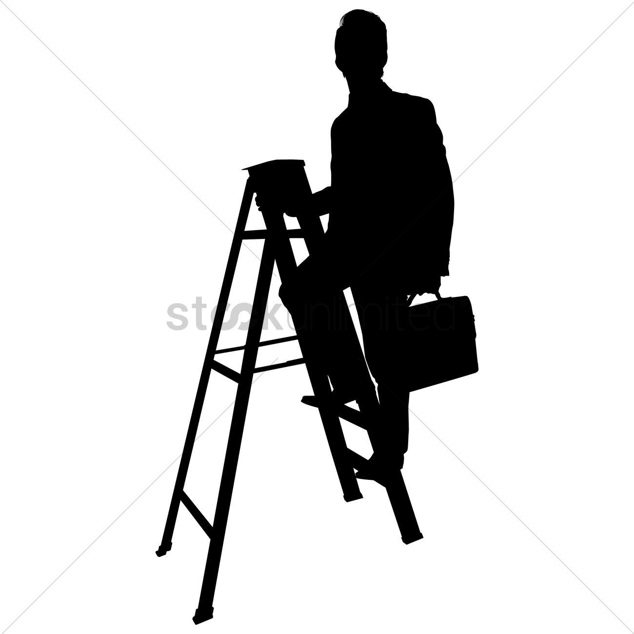 1300x1300 Businessman Climbing A Ladder Silhouette Vector Image