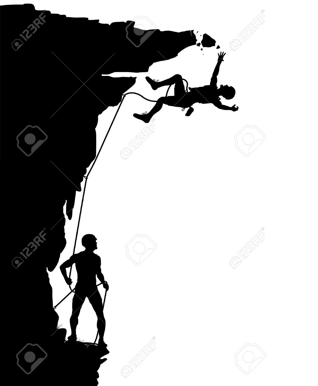 1070x1300 Editable Vector Silhouette Of A Climber Falling From A Breaking