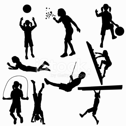 440x440 Kids Playing Silhouette Collection Vector Jpg Stock Vector