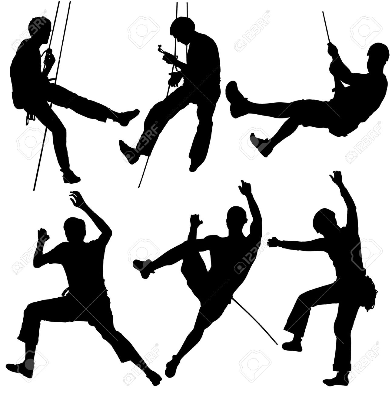 1294x1300 Rock Climber Silhouette On White Background Royalty Free Cliparts