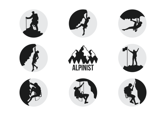 700x490 Alpinists Climbers Silhouettes Vector