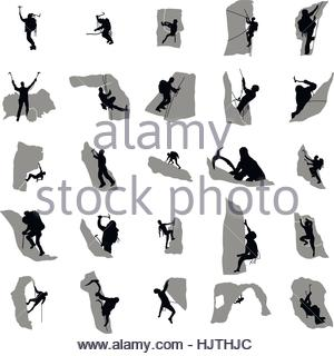 300x320 Set Black Silhouette Rock Climber On White Background Stock Vector
