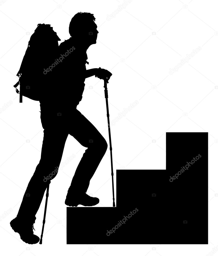873x1023 Silhouette Hiker Climbing Steps Stock Vector Andreypopov