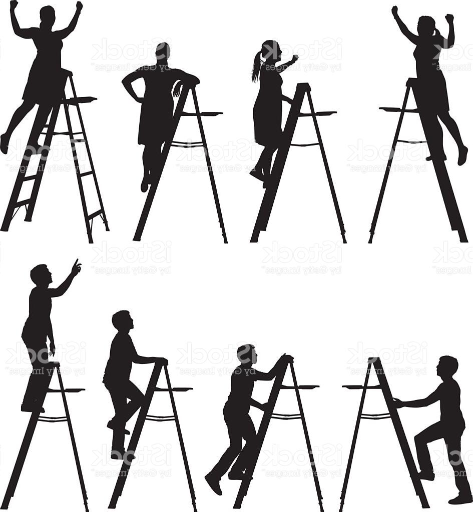 945x1024 Unique Men And Women Silhouettes Climbing Ladders Vector Images