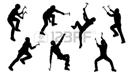 450x257 Climb Silhouettes On The White Background Royalty Free Cliparts