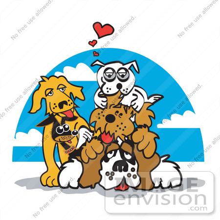 450x450 Cartoon Clip Art Graphic Of A Dogs Piling On Top Of A St Bernard