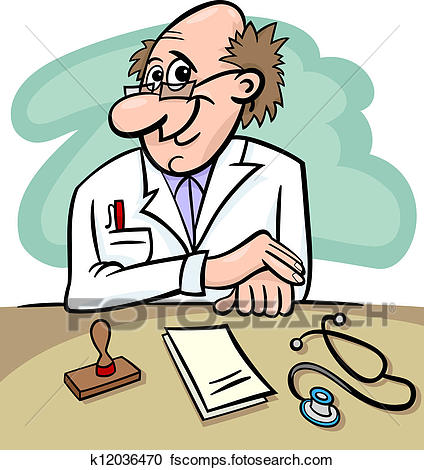 424x470 Clipart Of Doctor In Clinic Cartoon Illustration K12036470