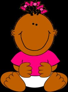 219x297 Brown Baby Girl Sitting Clip Art