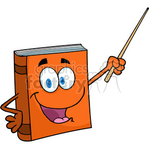 300x300 Royalty Free 5190 Text Book Cartoon Character With A Pointer